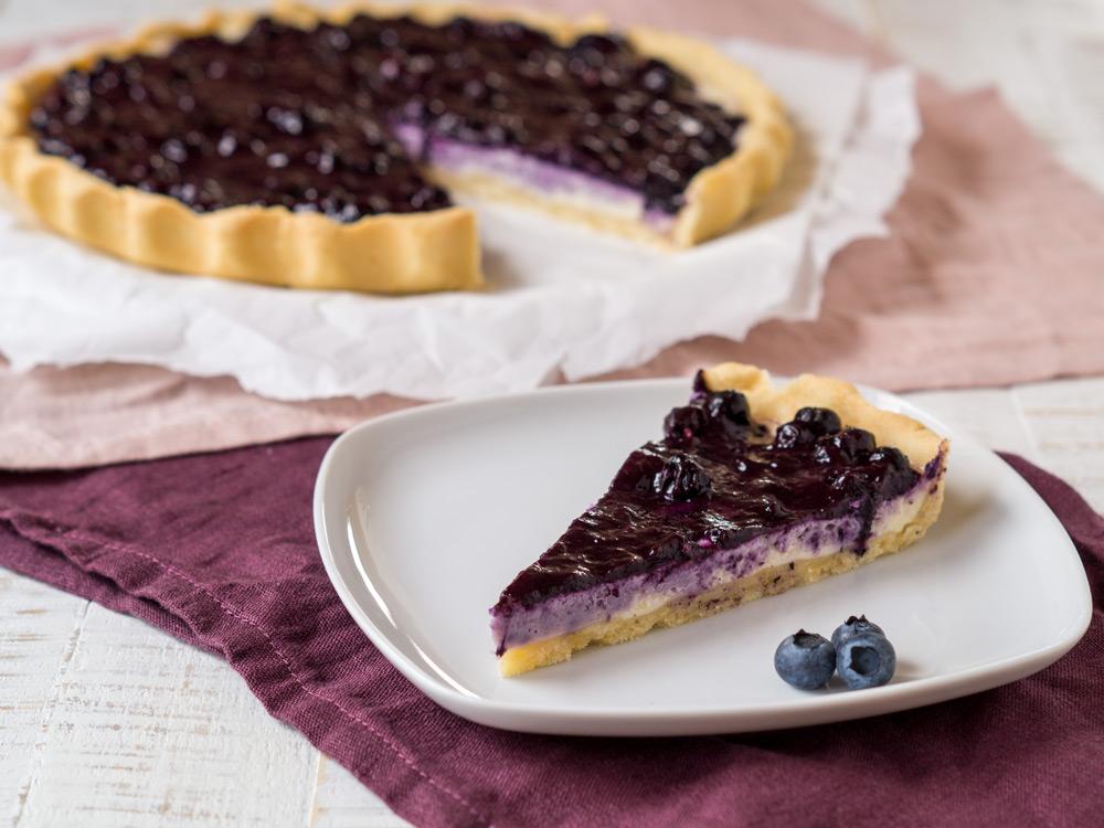 Hello again… mit einer Blaubeer-Cheesecake-Tarte